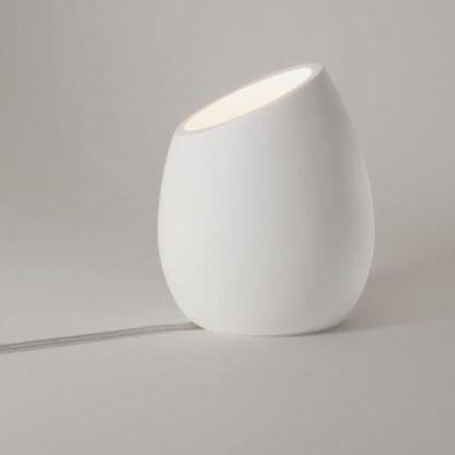 oryginalna, niewielka lampa stołowa, lampka nocna z gipsu, można ją samodzielnie pomalować