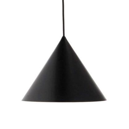 duża lampa wisząca z czarnym kloszem, nowoczesny design, stożek, długi przewód