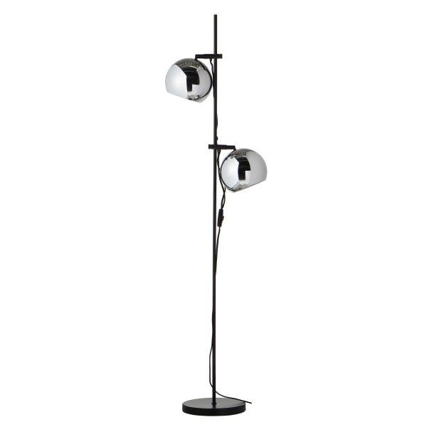 skandynawska lampa podłogowa z chromowanymi kloszami kulami