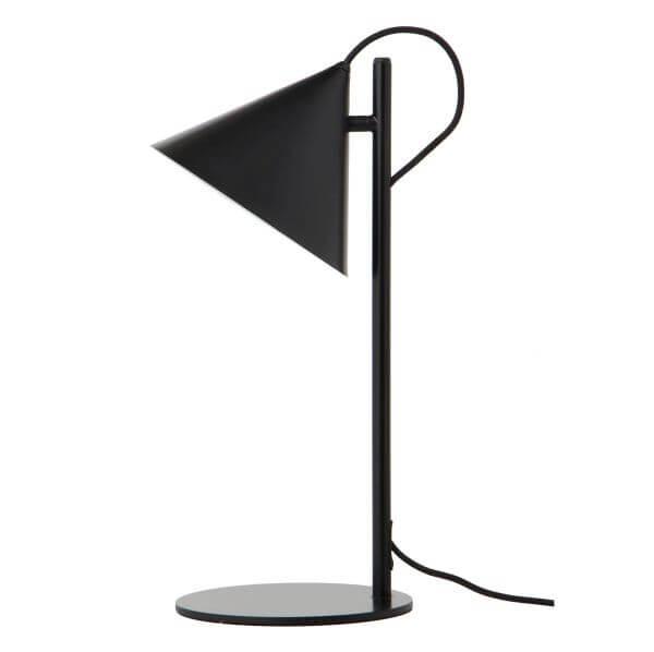 szara lampa stołowa ze stożkowym kloszem, skandynawska - aranżacja