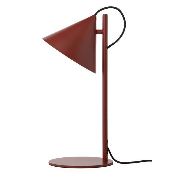 bordowa, metalowa lampa biurkowa