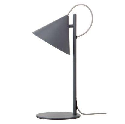 szara lampa wisząca ze stożkowym kloszem otwartym na dół, nowoczesna