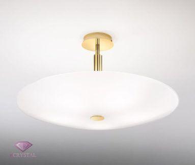 Klasyczna lampa sufitowa Centro - Kolarz - szklany klosz, złota podstawa