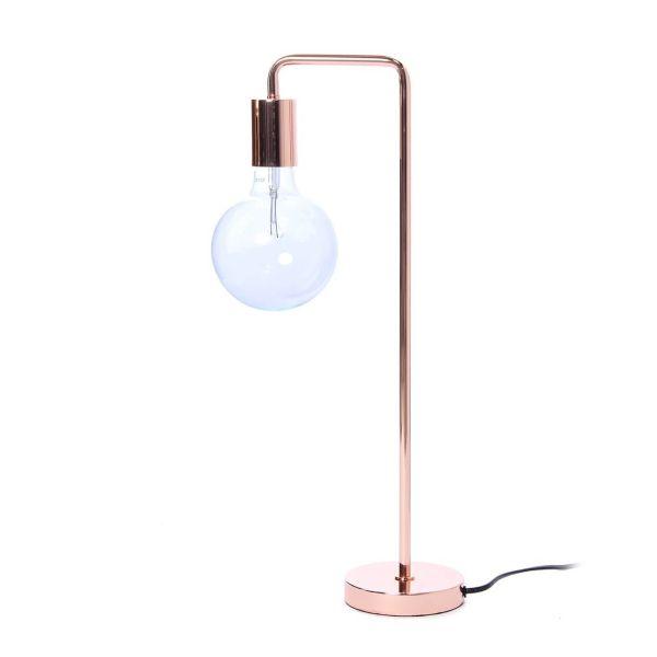 miedziana lampa stołowa w stylu industrialnym, bez abażura
