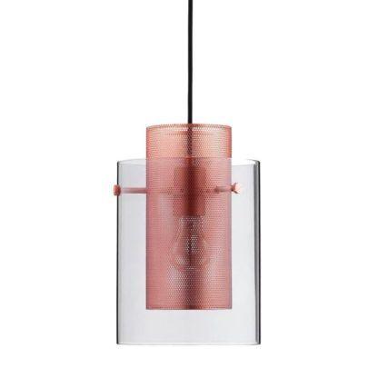 lampa wisząca z miedzianym kloszem w szklanej tubie