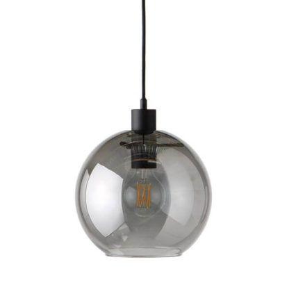 szklana lampa wisząca, szara kula