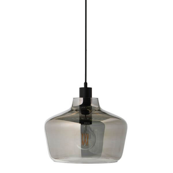 szklana lampa wisząca z barwionego szkła, ciekawe kształty
