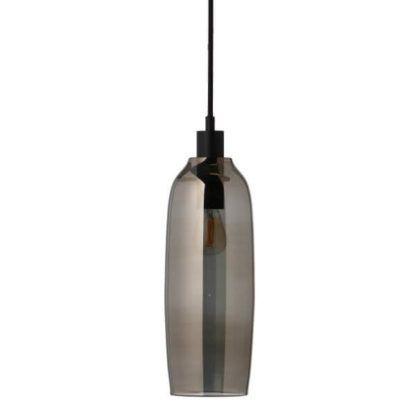 podłużna lampa wisząca z barwionego szkła, szara