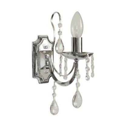 srebrny kinkiet z dekoracyjnymi kryształkami