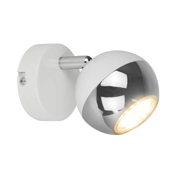 nowoczesny kinkiet kula biała ze srebrnymi elementami