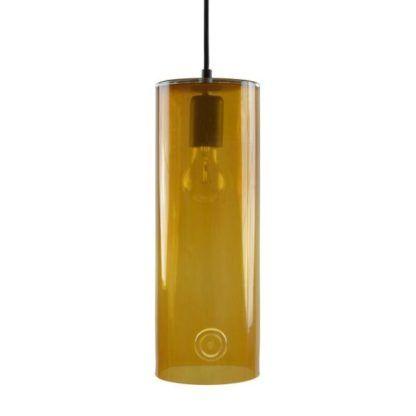 miodowa lampa wisząca ze szkła