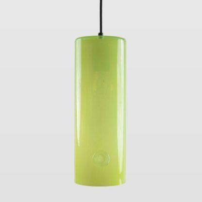 żółta lampa wisząca, podłużna, szklana
