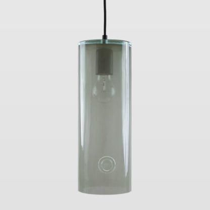 szara lampa wisząca, podłużna, szklana