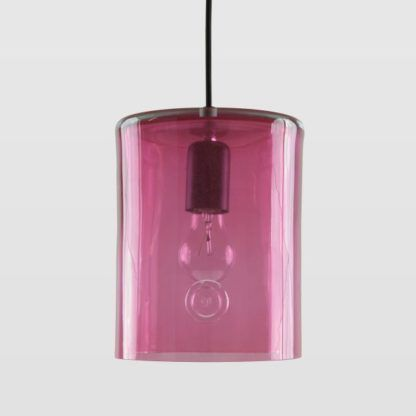lampa wisząca ze szkła, neonowy róż