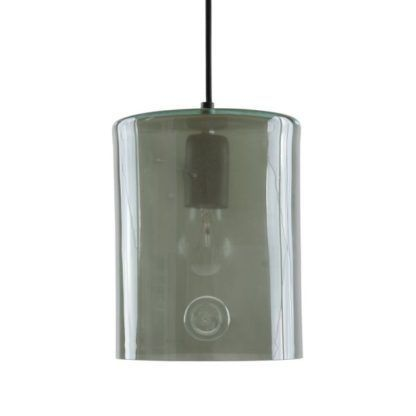 szara, szklana lampa wisząca