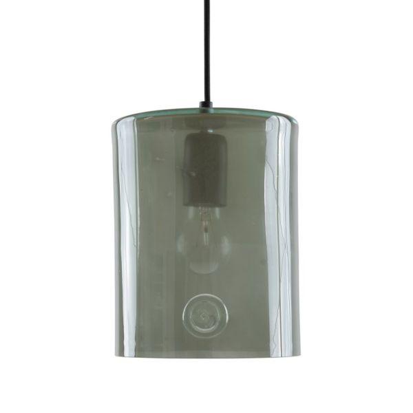 szklana lampa wisząca na czarnym zawieszeniu
