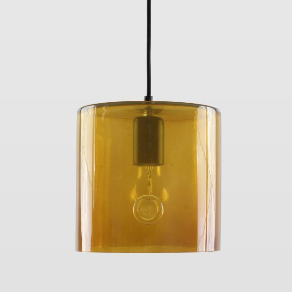 lampa ze szkła barwionego, miodowa, polski produkt