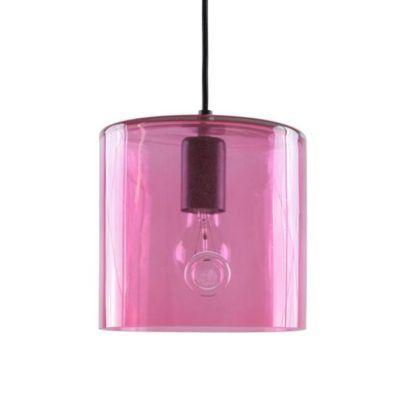 szklana lampa wisząca, neonowy róż