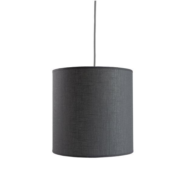 lampa wisząca z szarym, materiałowym, tekstylnym abażurem