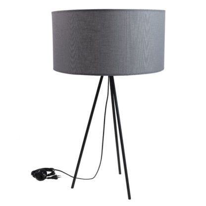 lampa stołowa czarny trójnóg z abażurem