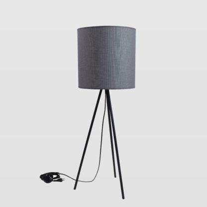 trójnóg stołowy z ciemnym abażurem