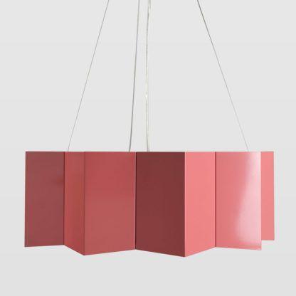 metalowa lampa wisząca, geometryczny, różowy klosz