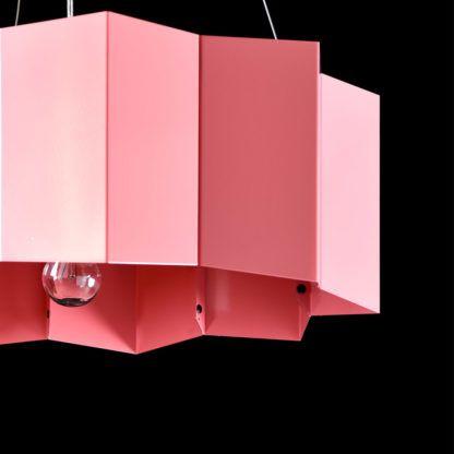 designerska, metalowa lampa wisząca, różowy klosz