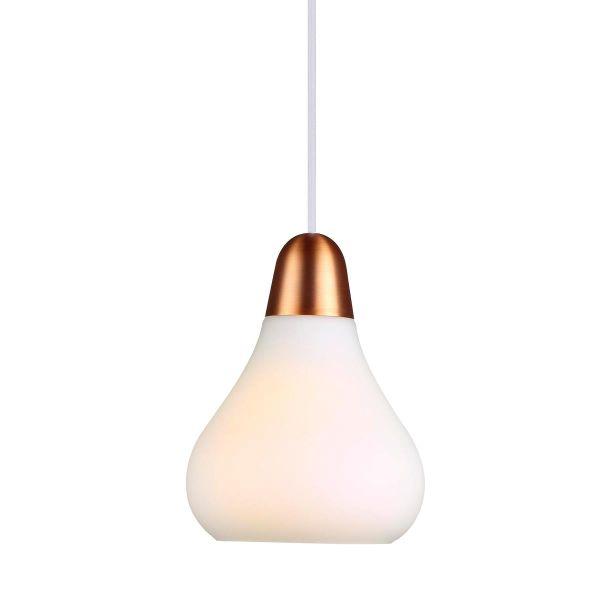 szklana lampa wisząca z metalowym zawieszeniem, nowoczesna