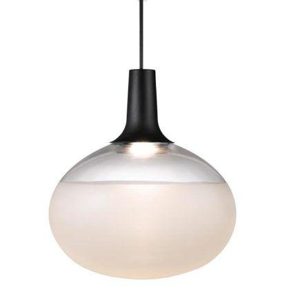 szklana lampa wisząca kula z czarnym zawieszeniem, nowoczesne oświetlenie