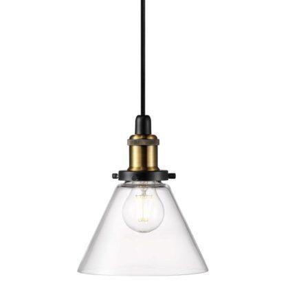 bezbarwna, szklana lampa w stylu indsutrialnym