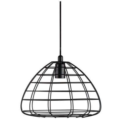 metalowa lampa wisząca z cienkich, czarnych prętów