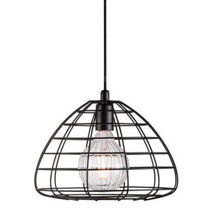 czarna lampa wisząca z metalowych prętów