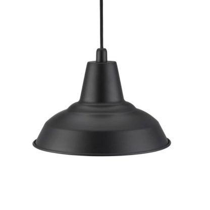 czarna lampa wisząca z metalu, klosz industrialny
