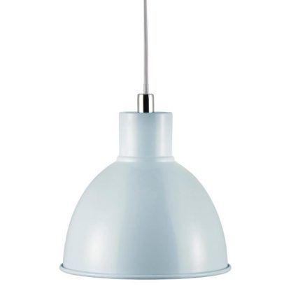 błękitna lampa wisząca, metalowa