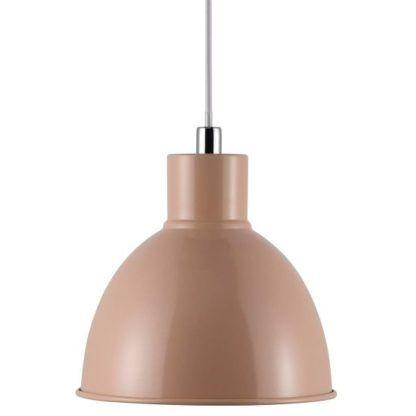 brzoskwiniowa lampa wisząca, styl nowoczesny, metalowy klosz