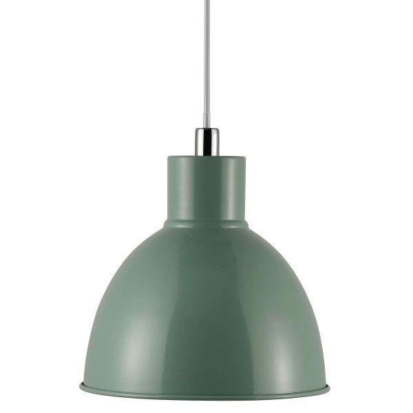 metalowa, zielona lampa wisząca w stylu industrialnym