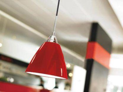 czerwona lampa wisząca połysk, chrom