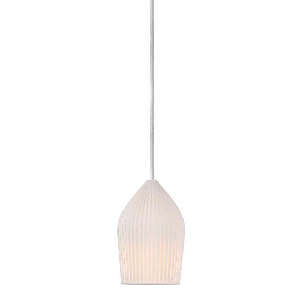 biała, ceramiczna lampa wisząca, jadalnia skandynawska