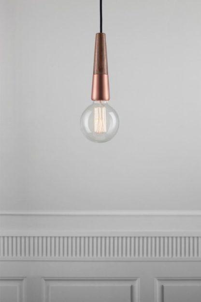 drewniane, miedziane zawieszenie do lampy, industrial