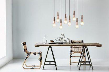 zawieszenie do lamp w stylu skandynawskim, drewniane, edison - aranżacja
