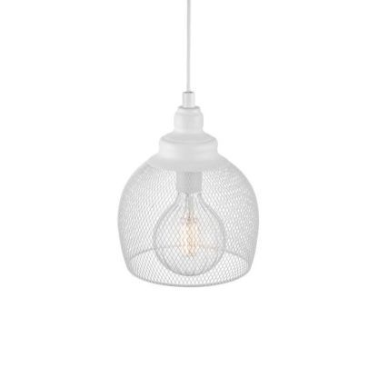 druciana, ażurowa lampa wisząca, biała