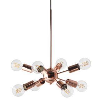 miedziana lampa wisząca, industrialna, dużo żarówek, dekoracyjne światło sputnik