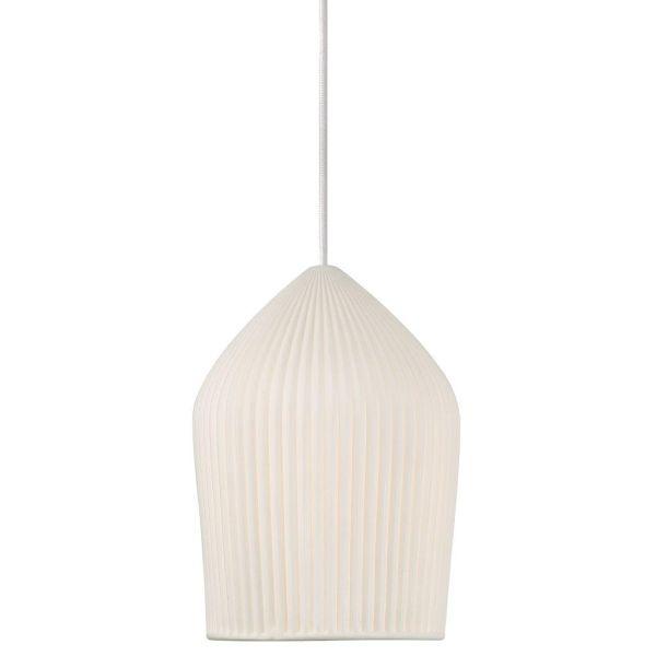 lampa wisząca skandynawska z ceramicznym kloszem harmonijkowym - aranżacja przedpokój