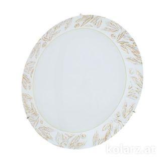 Szklana lampa sufitowa Serena - Kolarz - biała w złote listki, klasyczna