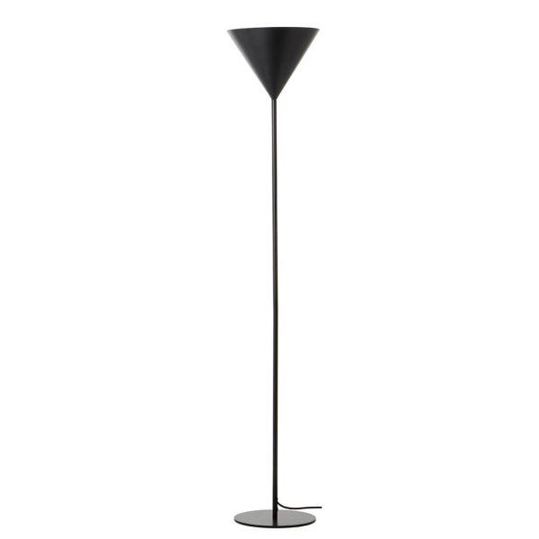 czarna lampa podłogowa z kloszem otwartym na górę, stożek