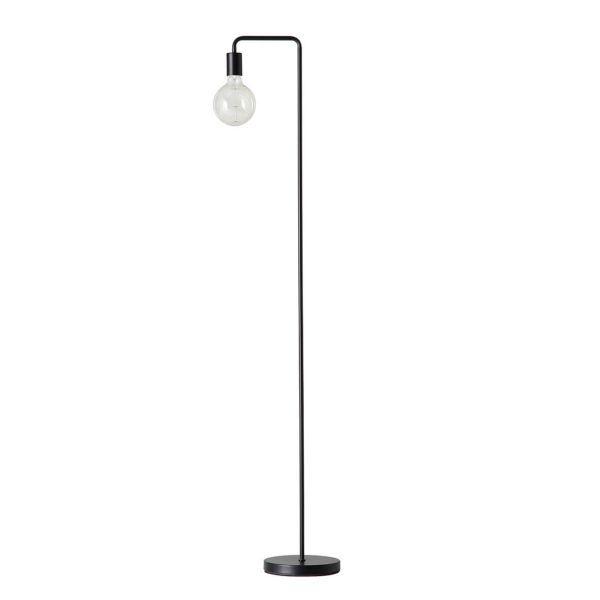 lampa podłogowa industrialna, surowy design, czarny metal