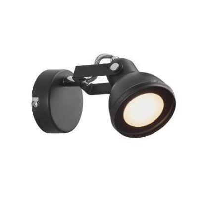 czarny, metalowy kinkiet-reflektor