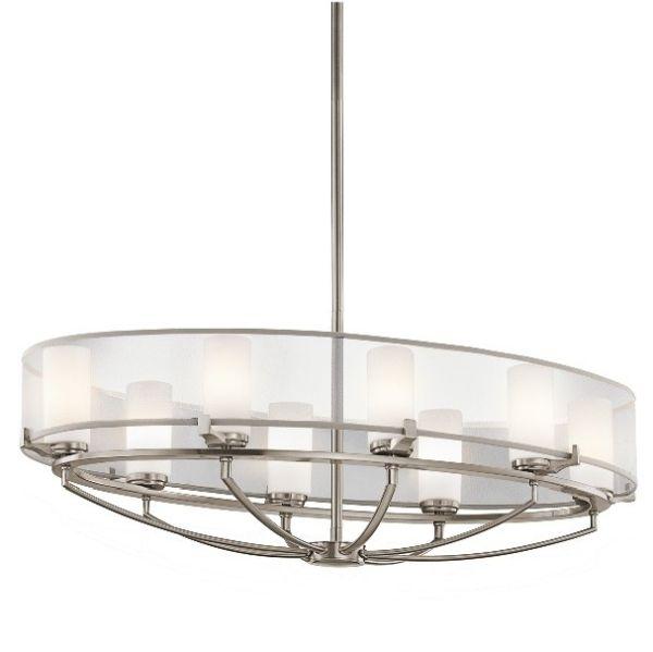 klasyczna lampa wisząca, owalna, srebrna, biała