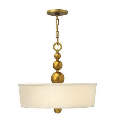 elegancka lampa wisząca z abażurem, mosiądz