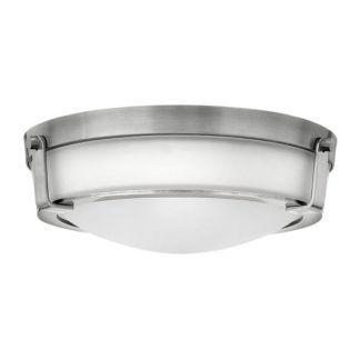 Klasyczny plafon Hathaway - Ardant Decor - mleczny klosz, srebrny